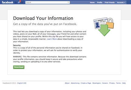 image showing how to download facebook profile data