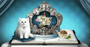 Fancy Feast cat food commercial white cat photo