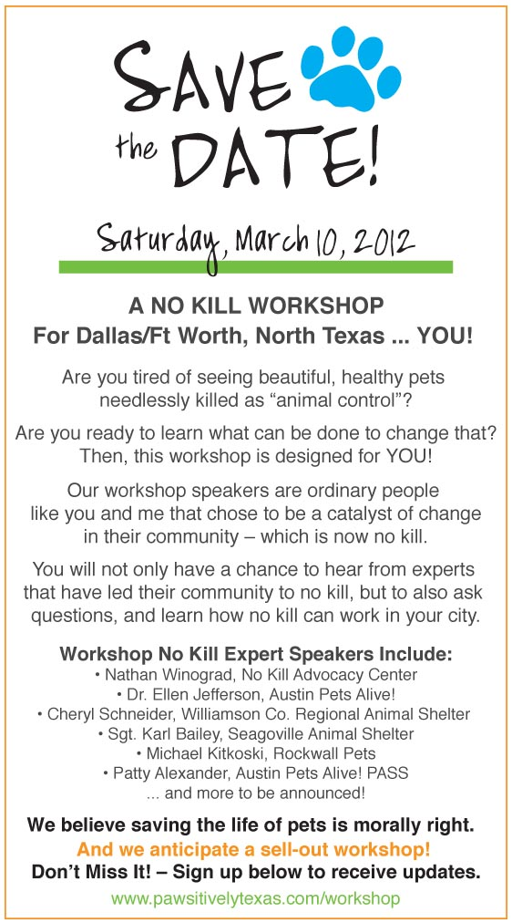 No Kill Conference Save the Date Dallas Ft Worth North Texas no kill conference